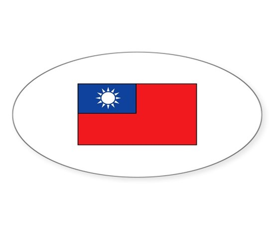 Taiwanese flag oval sticker 10 pk